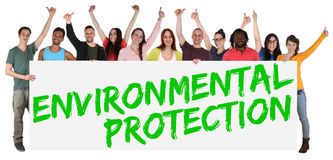 Environmental protection group of young multi ethnic people hold. Ing banner isolated Royalty Free Stock Images