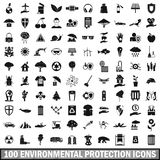 100 environmental protection icons set. In simple style for any design vector illustration Vector Illustration