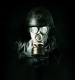 Environmental protection. Man in gas mask Stock Photos