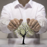 Environmental Protection. Two hands above a tree drawing. Environmental protection concept royalty free stock photo