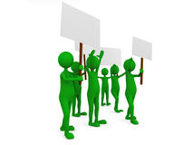 Environmental protestation with posters. 3D render Royalty Free Stock Images