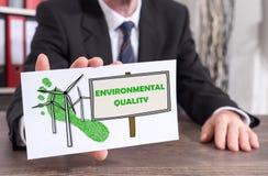 Environmental quality concept on an index card Stock Photos