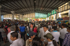 Environmental rally in Lago Agrio Ecuador. June 5, 2017 Lago Agrio, Ecuador: the town is the centre of the largest ecological disaster caused by oil extraction Royalty Free Stock Photos