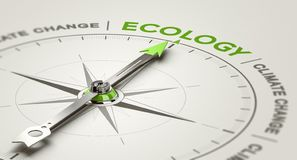 Environmental Responsibility. Ecology For Climate Change or Global Warming. 3D illustration of a conceptual compass with needle pointing the word ecology royalty free illustration