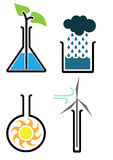 Environmental Science. This set of four graphic icons explores the growing field of environmental science stock illustration
