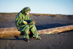 Environmental scientist in disaster zone Stock Photos
