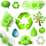 Environmental set. Vector set of environmental icons and labels isolated on white background vector illustration