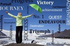 Successful Woman Green Umbrella & Melting Glacier Royalty Free Stock Photos