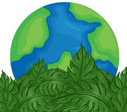 Environmental theme with earth and green leaves. Illustration Royalty Free Stock Photography