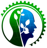 Environmental thinking. Isolated illustrated logo design stock illustration