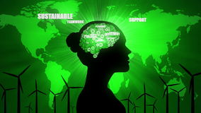 Environmental Thoughts: female silhouette and green issues. A CGI animated seamless loop of a woman thinking about environmental issues such as recycling and vector illustration