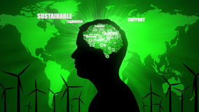 Environmental Thoughts: male silhouette and green issues. A CGI animated seamless loop of a man thinking about environmental issues such as recycling and royalty free illustration
