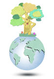 Environmental  Tree forming the world globe Stock Photos