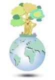 Environmental  Tree forming the world globe Stock Photos