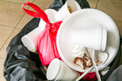 Environmental unfriendly disposed styrofoam plates and cups in g Stock Photos