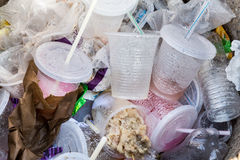 Environmental unfriendly non-biodegradable PVC containers and st Royalty Free Stock Image