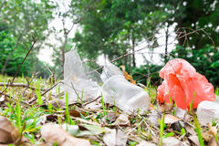 Environmental unfriendly non biodegradable pvc litter in public Stock Photo