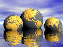 GLOBAL WARMING CLIMATE CHANGE ENVIRONMENTIAL DISASTER SAVE EARTH GLOBES Royalty Free Stock Images