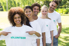 Environmentalist showing volunteer tshirt stock photos