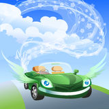 Environmentally friendly car. Illustration with winged environmentally friendly car against clear blue sky drawn in cartoon style Royalty Free Stock Photo