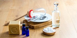 Environmentally friendly cleaning with economic home-made dish washing detergent. With pure essential oils, olive oil soap, biodegradable baking soda stock image