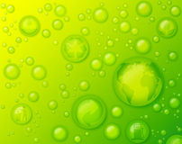 Environmentally Friendly Concept with Water Drops on Green Background. Concept of environmentally friendly, environmental protection, go green, back to nature royalty free stock photos