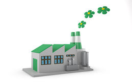 Environmentally friendly factory concept. Green factory  on white background Royalty Free Stock Photography