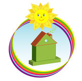 Environmentally friendly green house in sunny rainbow Royalty Free Stock Images