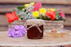 Environmentally-friendly honey in glass jars Stock Image
