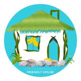 Environmentally friendly house in cartoon style. Country cottage. Made of grass, flowers and stones, save the nature conceptual vector illustration Royalty Free Stock Photo