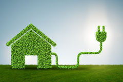 Environmentally friendly housing concept with green house - 3d r Royalty Free Stock Photos