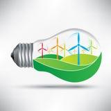 Environmentally friendly light bulb with windmills idea  Royalty Free Stock Photography