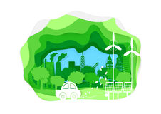 Environmentally. Friendly. Save energy concept. Paper art style.Horizontal  illustration Stock Image