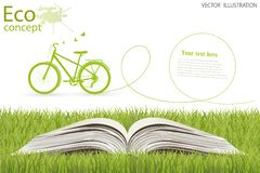 Environmentally friendly world. Bike on a globe. Environmentally friendly world. Illustration of ecology the concept of info graphics modern design. Doodle Royalty Free Stock Photography
