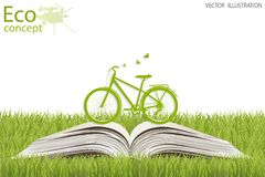 Environmentally friendly world. Bike on a globe. Environmentally friendly world. Illustration of ecology the concept of info graphics modern design. Doodle Stock Photo