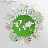 Environmentally friendly world. Green world map. Ecology concept. Ecologically clean world. Illustration. Doodle Royalty Free Stock Image