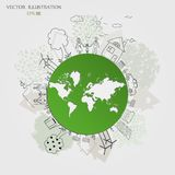 Environmentally friendly world. Green world map. Ecology concept. Ecologically clean world. Illustration. Doodle Stock Photos