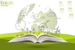 Environmentally friendly world. Green world map global environment with happy family stories. Open book of happy family stories. Ecology concept. Ecologically Stock Image