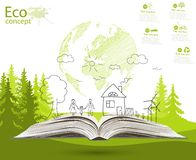 Environmentally friendly world. Green world map global environment with happy family stories. Open book of happy family stories. Ecology concept. Ecologically Stock Photography