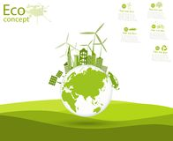 Environmentally friendly world. Illustration of ecology the concept of info graphics. Icon. Simple modern minimalistic style. Simple illustrated illustration Stock Photos