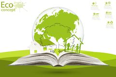 Environmentally friendly world. The tree and the house above an open book on green grass. The concept of ecology to save the planet. Eco friendly Stock Photography
