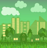 Environmentally symbols of urban lifestyles. Vector illustration Stock Images