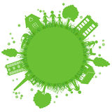 Environmentally symbols of urban lifestyles. Vector illustration Royalty Free Stock Image