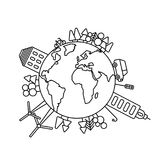 Environmentally world, planet logo or symbol in linear style. royalty free illustration