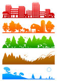 Environments. Set of five colourful silhouettes of different environments: city, countryside, wood, mountains and sea. Available in vector AI format Stock Image