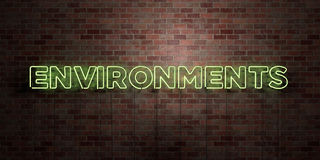 ENVIRONMENTS - fluorescent Neon tube Sign on brickwork - Front view - 3D rendered royalty free stock picture Stock Photography