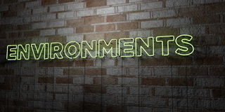 ENVIRONMENTS - Glowing Neon Sign on stonework wall - 3D rendered royalty free stock illustration Royalty Free Stock Photos