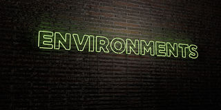 ENVIRONMENTS -Realistic Neon Sign on Brick Wall background - 3D rendered royalty free stock image Royalty Free Stock Image