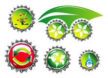 Environmetal car and bottle caps Royalty Free Stock Photography