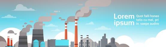 Environnement de déchets sales de fumée d'air de tuyau d'usine de pollution atmosphérique de nature mauvais avec la bannière de l Illustration Libre de Droits